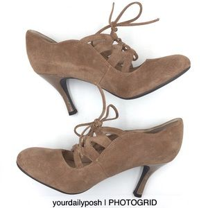 Taupe brown suede Franco Sarto lace-up pumps 7M
